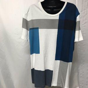 Men Burberry Brit color block shirt size XL.